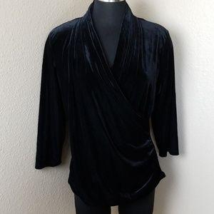New Valerie Bertinelli Faux Wrap Long Sleeve Blous